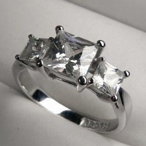Trinity 1.60 ctw Princess Silver Ring